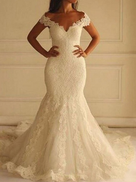 Mermaid \ Trumpet Wedding Dresses Off Shoulder Court Train Lace Short Sleeve Sexy Illusion Detail Backless_1