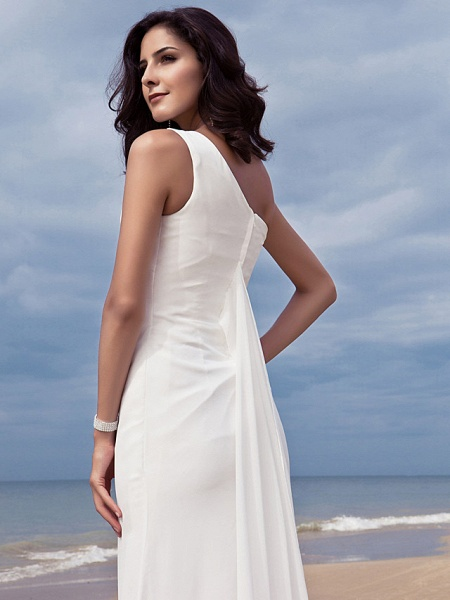 Sheath \ Column Wedding Dresses One Shoulder Sweep \ Brush Train Chiffon Regular Straps Simple Plus Size_7