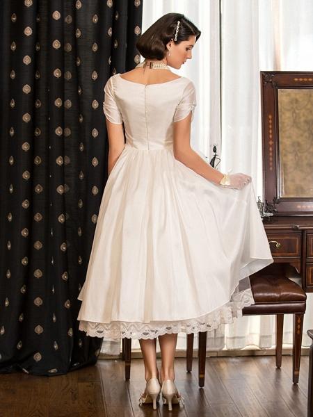 A-Line Wedding Dresses V Neck Tea Length Taffeta Short Sleeve Vintage Little White Dress 1950s_4