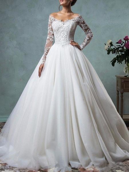 A-Line Wedding Dresses Off Shoulder Floor Length Tulle Long Sleeve Formal Plus Size_1