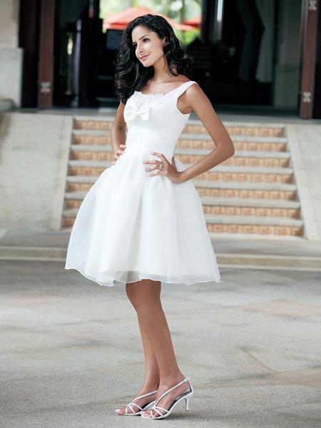 Ball Gown Wedding Dresses Square Neck Knee Length Organza Taffeta Regular Straps Little White Dress_8
