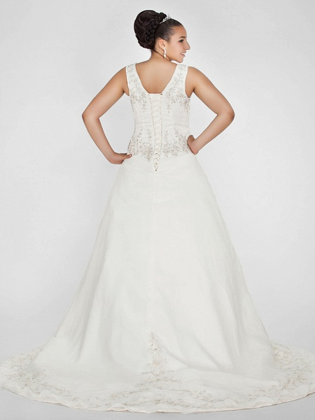 Ball Gown V Neck Court Train Organza Beaded Lace Regular Straps Formal Plus Size Wedding Dresses_2