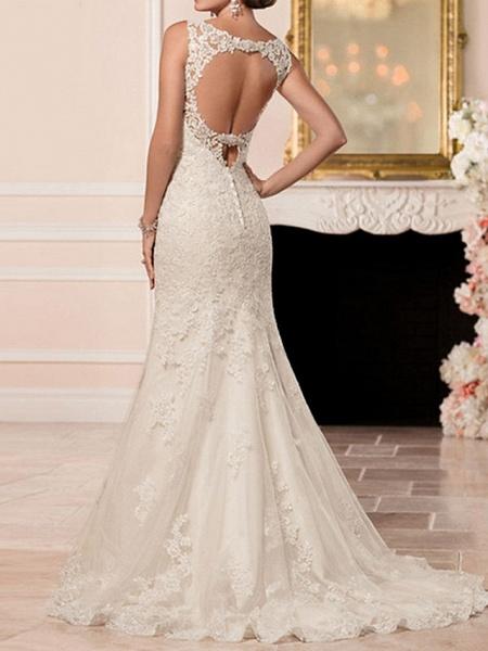 Mermaid \ Trumpet Wedding Dresses Sweetheart Neckline Sweep \ Brush Train Lace Spaghetti Strap Sexy Illusion Detail Backless_3
