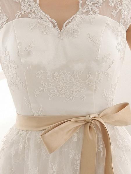 A-Line Wedding Dresses V Neck Knee Length Lace Sleeveless Vintage Little White Dress 1950s_6