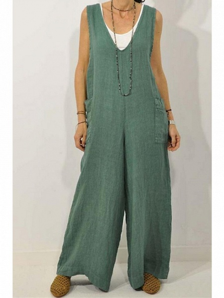 Women's Wine Green Navy Blue Jumpsuit_4
