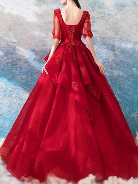 Ball Gown Wedding Dresses V Neck Floor Length Polyester Half Sleeve Romantic Plus Size Red_5