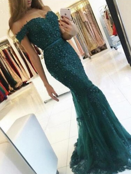 Mermaid \ Trumpet Sparkle Red Prom Formal Evening Dress Off Shoulder Short Sleeve Sweep \ Brush Train Lace_2