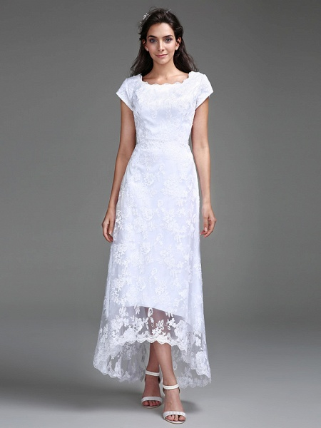 Sheath \ Column Wedding Dresses Jewel Neck Asymmetrical All Over Lace Cap Sleeve Casual Little White Dress_3