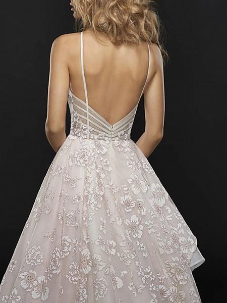 A-Line Wedding Dresses Jewel Neck Court Train Chiffon Tulle Spaghetti Strap_3