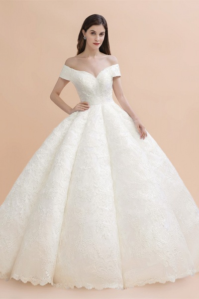 Elegant Off-the-shoulder Appliques Ball Gown Wedding Dresses