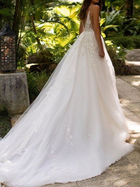 A-Line Wedding Dresses V Neck Court Train Lace Tulle Sleeveless Formal Sexy_2