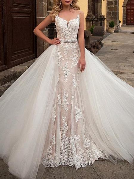 Mermaid \ Trumpet Jewel Neck Sweep \ Brush Train Detachable Lace Tulle Chiffon Over Satin Sleeveless Formal Sexy See-Through Wedding Dresses_1