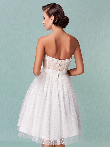 Princess A-Line Wedding Dresses Sweetheart Neckline Knee Length Tulle Strapless Little White Dress_7