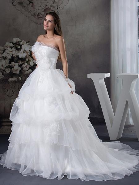 A-Line Strapless Chapel Train Organza Satin Strapless Wedding Dresses_2