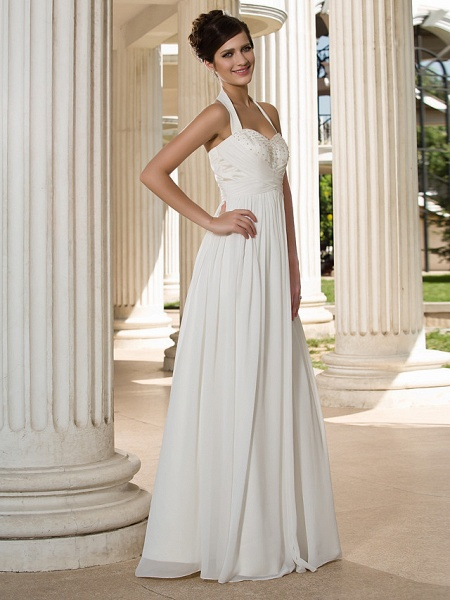 A-Line Wedding Dresses Halter Neck Floor Length Chiffon Sleeveless See-Through_3