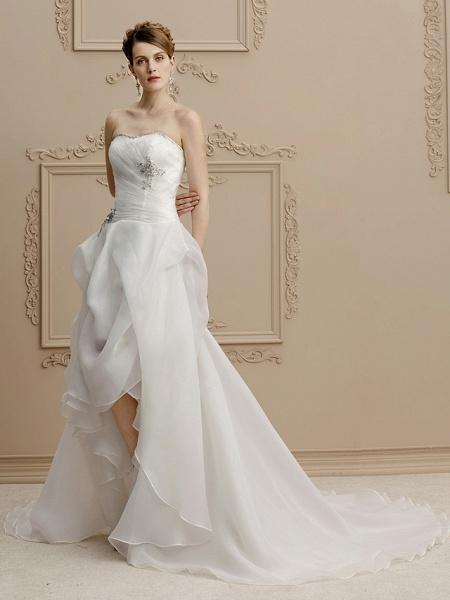 A-Line Wedding Dresses Strapless Asymmetrical Organza Sleeveless Open Back_3