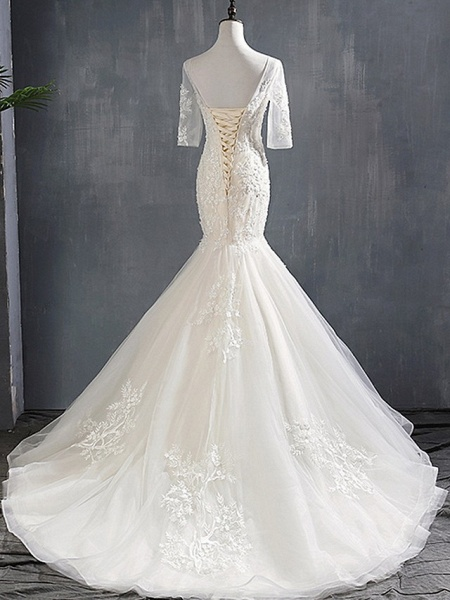 Mermaid \ Trumpet Wedding Dresses Jewel Neck Sweep \ Brush Train Polyester Half Sleeve_4