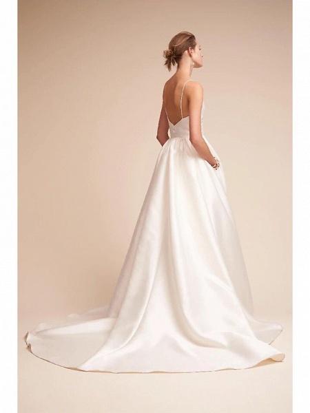 A-Line Wedding Dresses V Neck Court Train Satin Spaghetti Strap Little White Dress Open Back Sexy_2