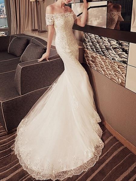 Mermaid \ Trumpet Wedding Dresses Off Shoulder Sweep \ Brush Train Lace Short Sleeve Beach_2
