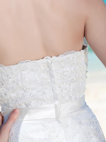 Sheath \ Column Wedding Dresses Strapless Tea Length Organza Sleeveless Little White Dress_8