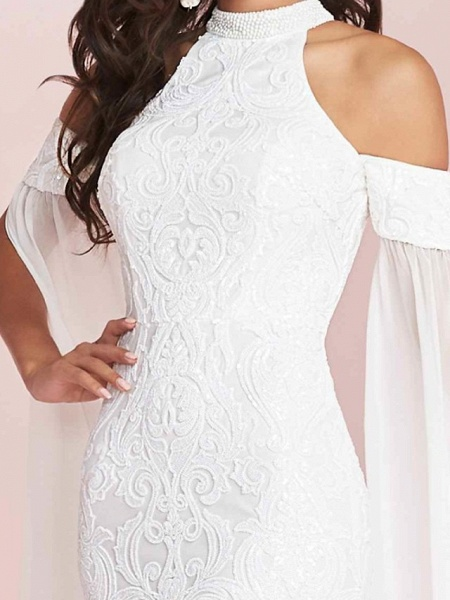 Mermaid \ Trumpet Halter Neck Floor Length Polyester Short Sleeve Country Plus Size Wedding Dresses_3