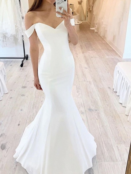 Mermaid \ Trumpet Wedding Dresses Off Shoulder Floor Length Satin Short Sleeve Sexy_1