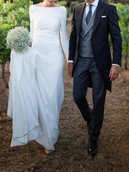 A-Line Wedding Dresses Off Shoulder Sweep \ Brush Train Satin Long Sleeve Formal Plus Size Elegant_1
