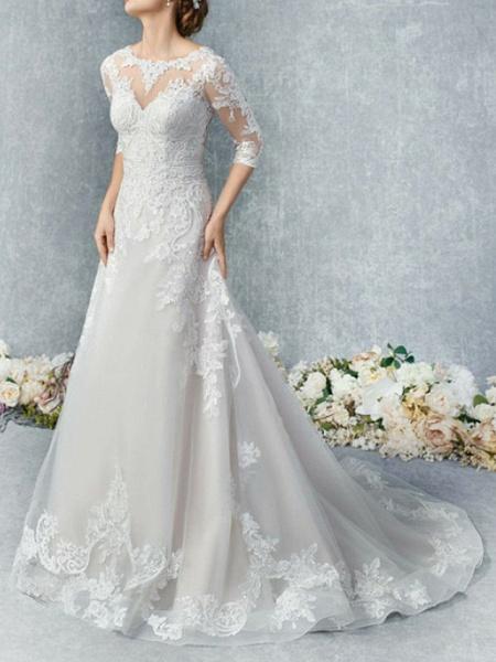 A-Line Wedding Dresses Jewel Neck Court Train Tulle 3\4 Length Sleeve Illusion Sleeve_1