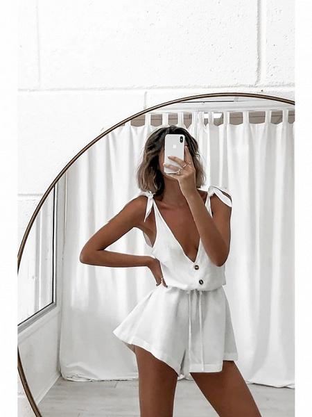 Women's Ordinary \ Basic White Romper_4