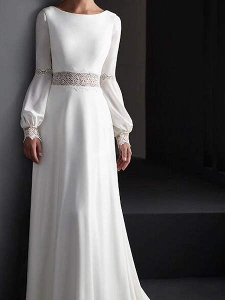 A-Line Wedding Dresses Jewel Neck Sweep \ Brush Train Lace Satin Long Sleeve Country Plus Size_3