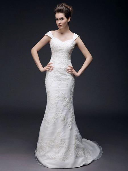Mermaid \ Trumpet Off Shoulder Sweetheart Neckline Sweep \ Brush Train Organza Satin Short Sleeve Wedding Dresses_1