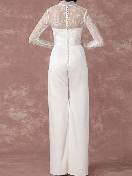 Jumpsuits Wedding Dresses Jewel Neck Floor Length Lace Long Sleeve Simple Modern_5