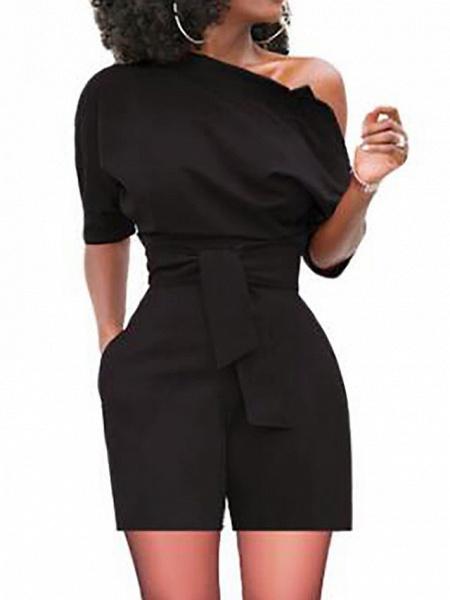 Women's Basic One Shoulder Black Wine White Wide Leg Romper_3