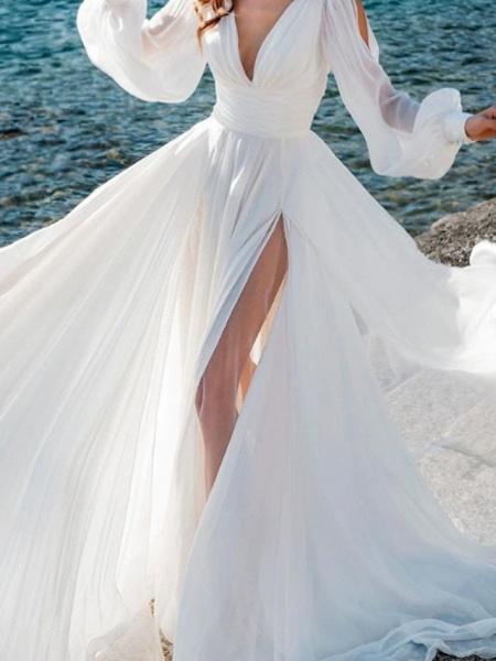 A-Line Wedding Dresses V Neck Sweep \ Brush Train Chiffon Over Satin Long Sleeve Simple Beach Sexy See-Through_3