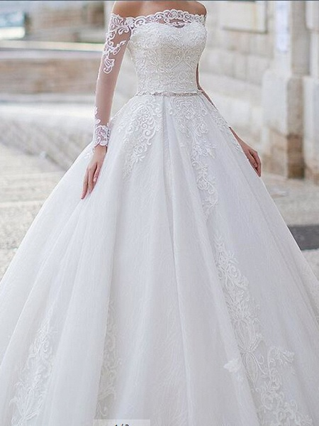 Ball Gown Off Shoulder Sweep \ Brush Train Tulle Polyester Long Sleeve Country Plus Size Wedding Dresses_3