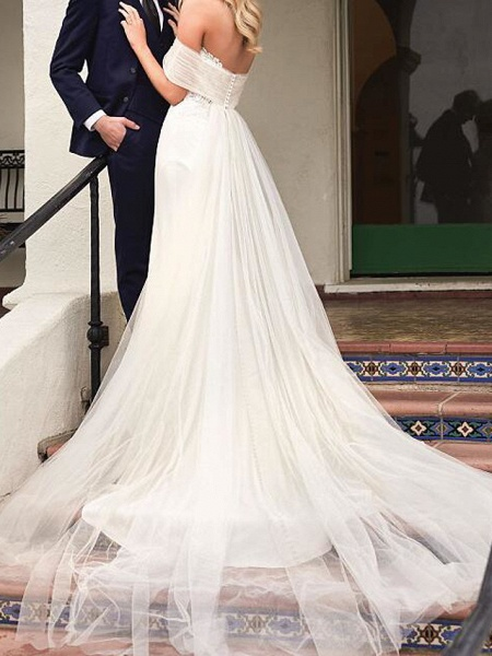 Mermaid \ Trumpet Wedding Dresses Strapless Sweep \ Brush Train Tulle Sleeveless Country Plus Size_2