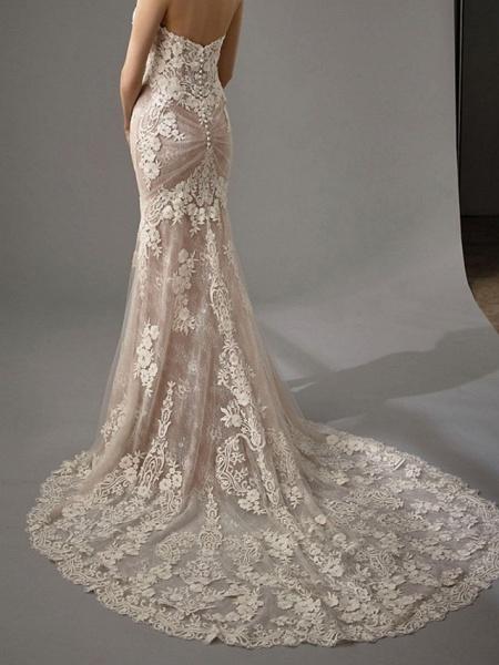 Sheath \ Column Sweetheart Neckline Chapel Train Lace Sleeveless Vintage Sexy Wedding Dress in Color Wedding Dresses_6