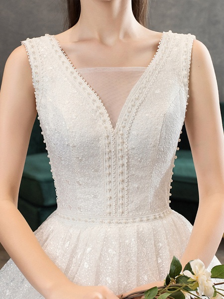 Ball Gown Wedding Dresses V Neck Floor Length Lace Tulle Polyester Sleeveless Romantic Sexy_5