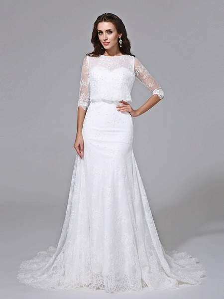 Mermaid \ Trumpet Wedding Dresses Scoop Neck Court Train Satin Lace Over Tulle Half Sleeve Simple Backless Illusion Sleeve_4