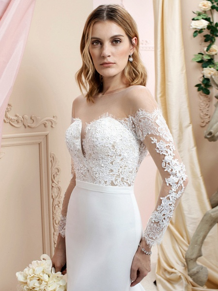 Mermaid \ Trumpet Wedding Dresses Bateau Neck Court Train Chiffon Corded Lace Long Sleeve Romantic Sexy See-Through Backless Illusion Sleeve_4