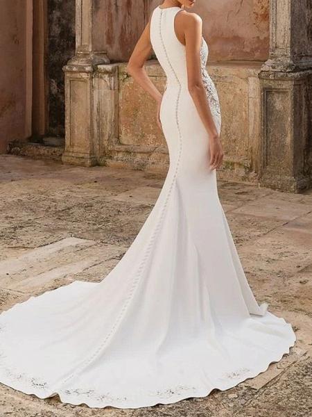 Mermaid \ Trumpet Wedding Dresses Jewel Neck Floor Length Polyester Sleeveless Country Illusion Detail_4