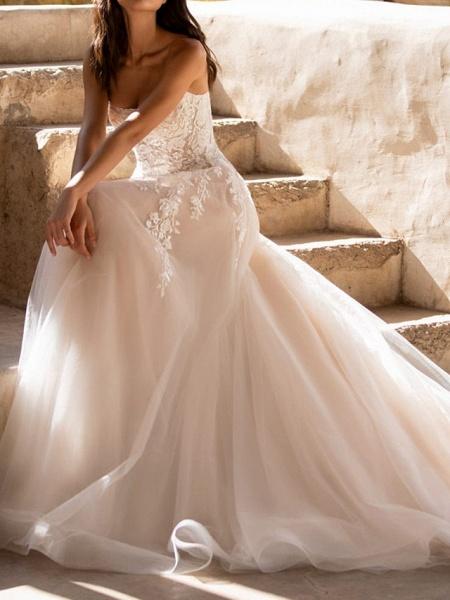 A-Line Wedding Dresses Sweetheart Neckline Sweep \ Brush Train Tulle Sleeveless Formal See-Through_4