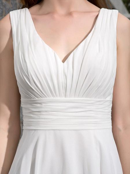 A-Line Wedding Dresses V Neck Asymmetrical Georgette Regular Straps Formal Simple Casual Plus Size_7
