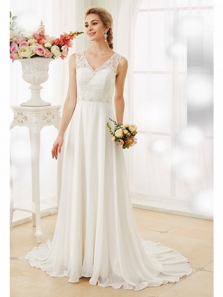 A-Line Wedding Dresses V Neck Court Train Chiffon Lace Bodice Regular Straps Sexy Illusion Detail Backless_3