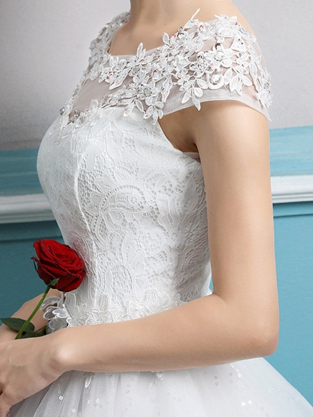 Ball Gown Wedding Dresses Jewel Neck Floor Length Lace Tulle Polyester Short Sleeve Romantic_7