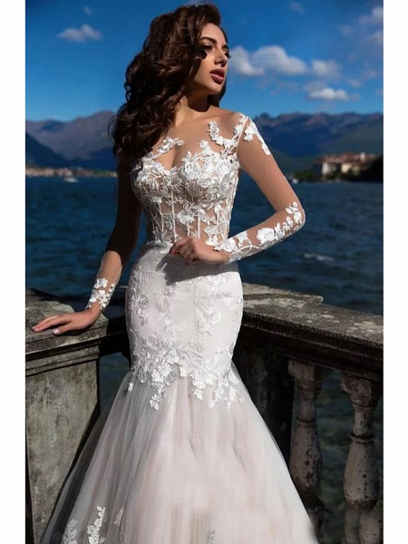 Mermaid \ Trumpet Wedding Dresses Bateau Neck Court Train Lace Tulle Lace Over Satin Long Sleeve Sexy See-Through Backless Illusion Sleeve_3