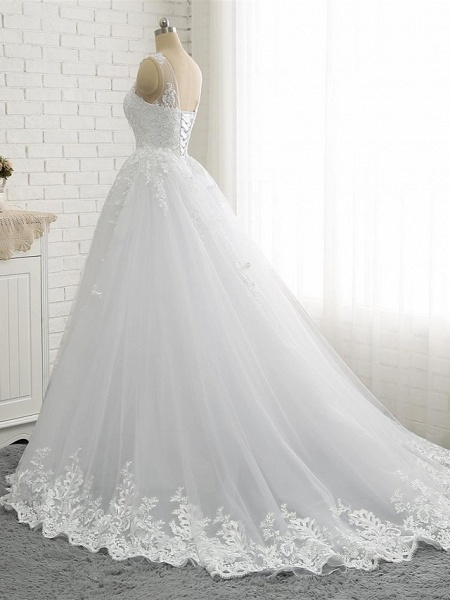 A-Line Wedding Dresses Scoop Neck Court Train Lace Tulle Lace Over Satin Regular Straps Romantic See-Through_5