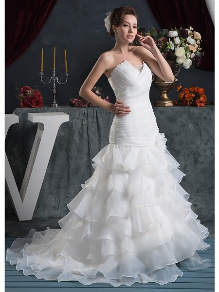 Mermaid \ Trumpet Strapless Court Train Organza Satin Strapless Plus Size Wedding Dresses_2