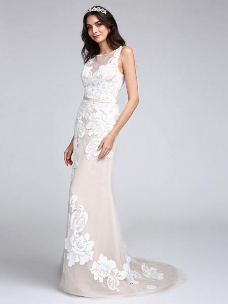Mermaid \ Trumpet Wedding Dresses Bateau Neck Sweep \ Brush Train Tulle Floral Lace Regular Straps Romantic Boho Sexy See-Through Illusion Detail_5