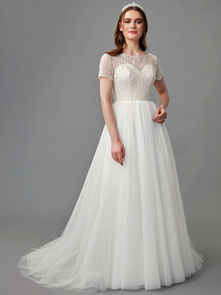 A-Line Wedding Dresses Jewel Neck Sweep \ Brush Train Lace Satin Tulle Short Sleeve 3\4 Length Sleeve Sexy_6